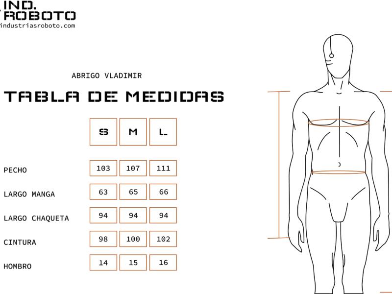 tabla de medidas ABRIGO VLADIMIR