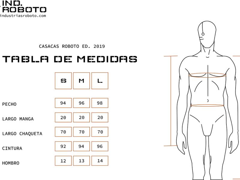 tabla de medidas CASACAS ROBOTO 2019