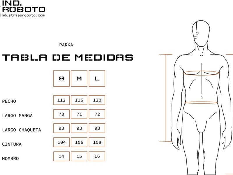 tabla de medidas PARKA