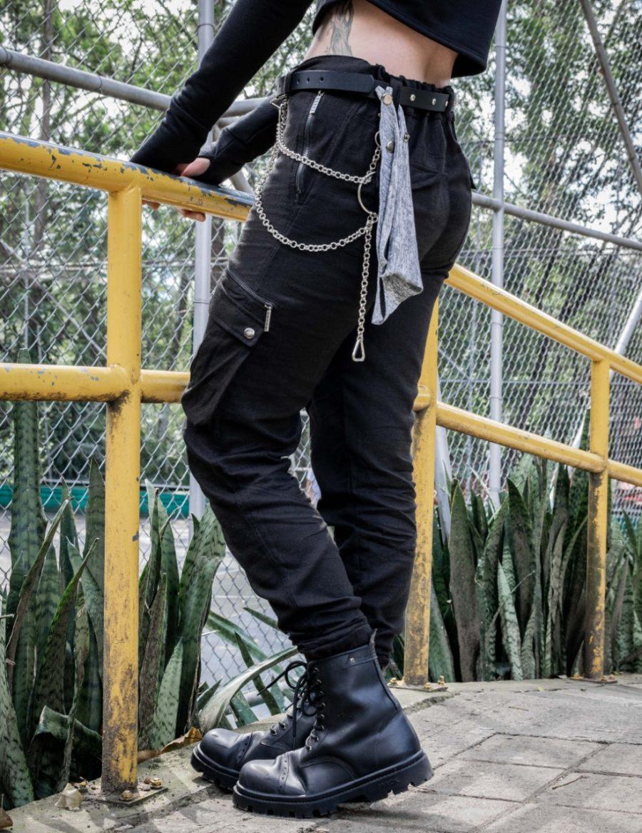 Pantalón Cargo Negro Mujer